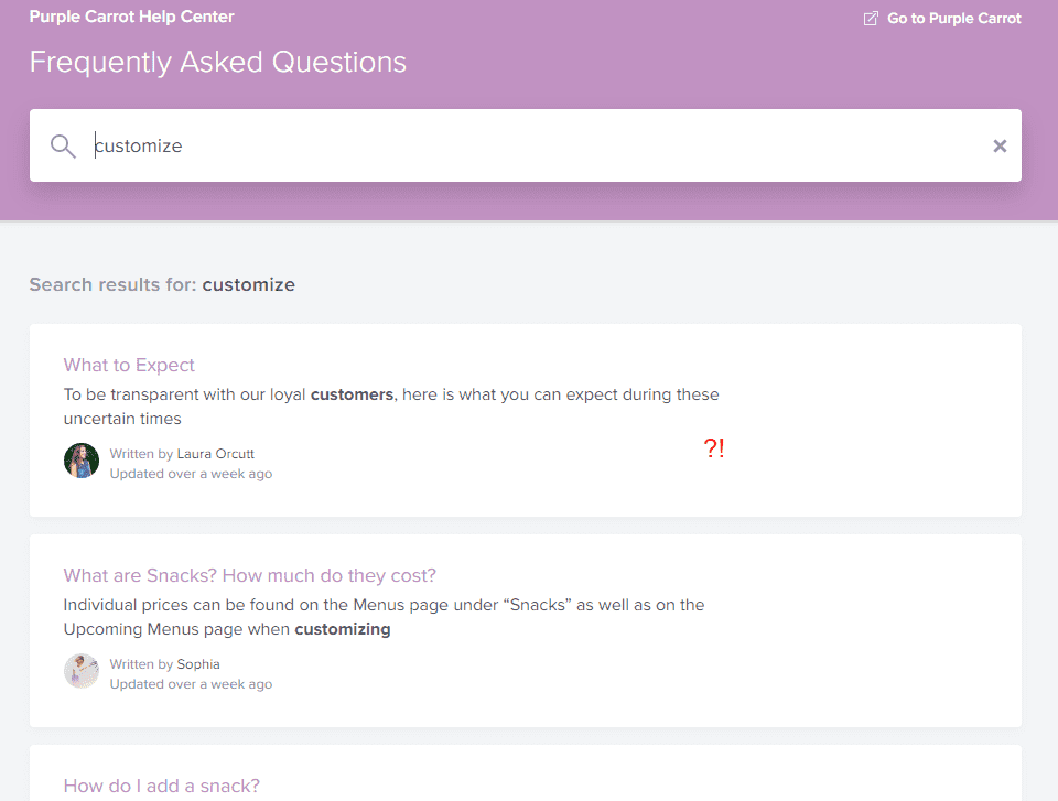 "Purple Carrot's FAQ results for the word ""customize"""